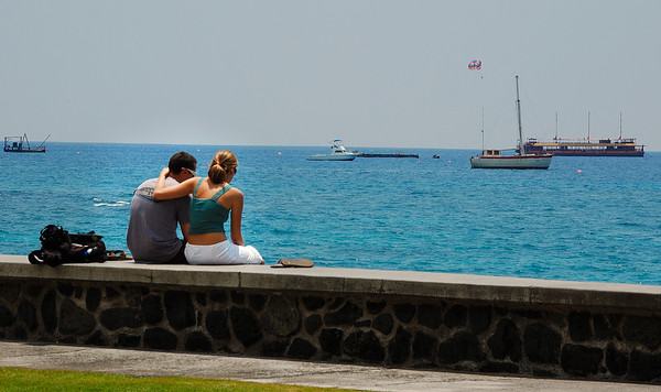A couple on the coast in Kona