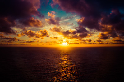 A dramatic sunrise over the Pacific Ocean