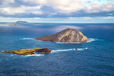 Drone image of Rabbit Island off the coast of Oahu in Hawaii