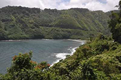 Remote Black Sand Beach along rutted dirt road down. We didn't want to risk gettting to it in our rental car.