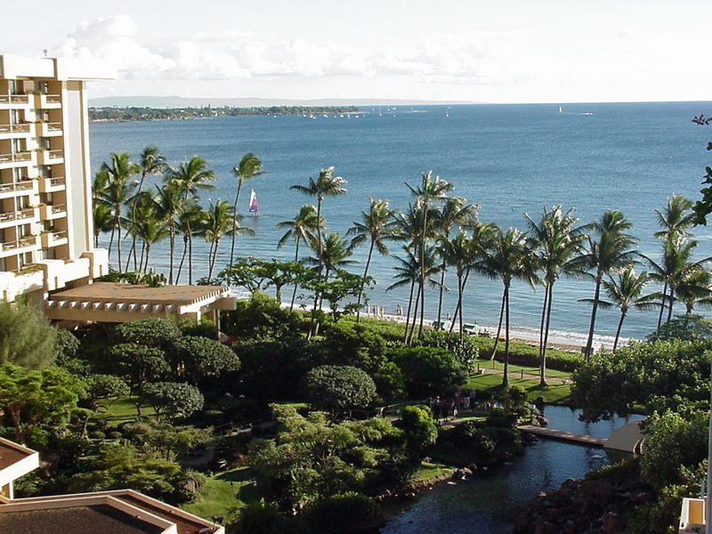 View from our Hyatt Regency balcony on Maui's Kaanapali Beach. Lahaina is seen in background.