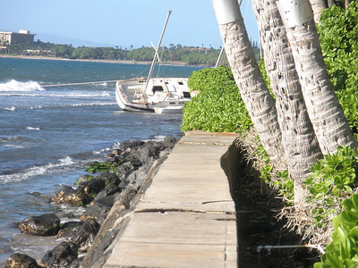 Boat washed ashore after storm-Maui
