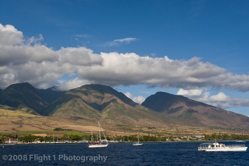 West Maui mountains tower over Lahaina