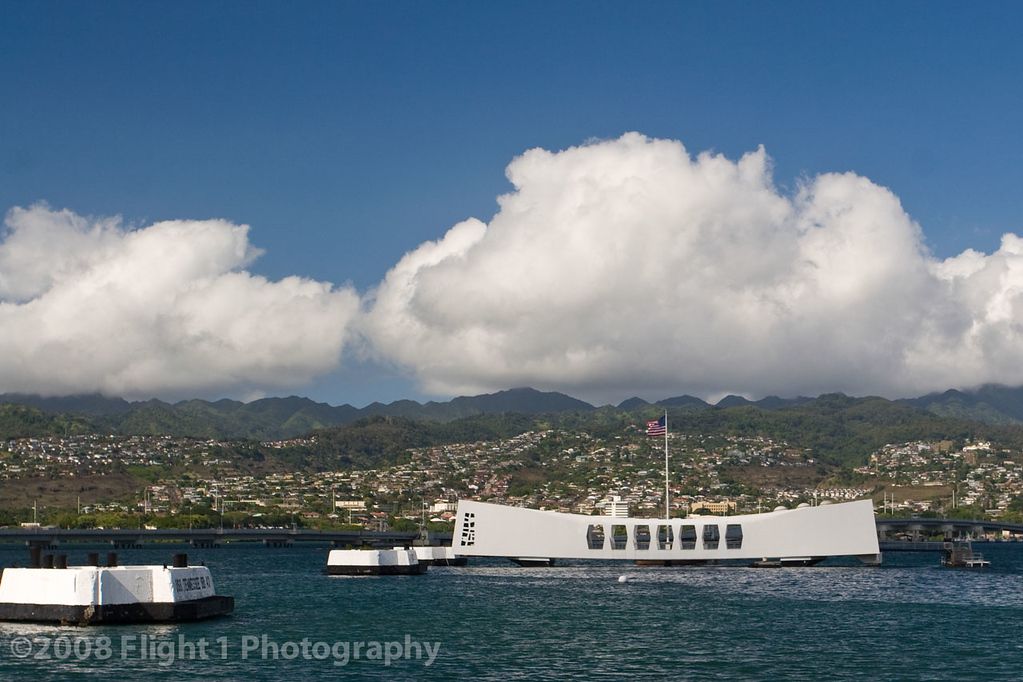 The USS Arizona Memorial on Battleship Row
