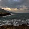 A dark sea on the western shore.