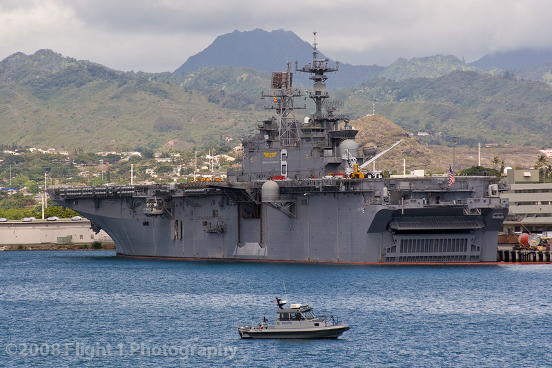 A U.S. Navy Amphibious assault carrier, the USS Bonhomme Richard (LHD-6)
