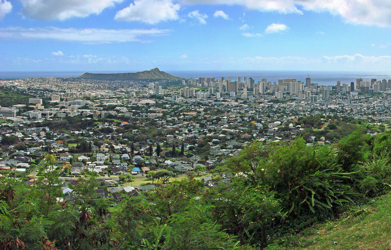 Diamond Head and Honolulu from Round Top