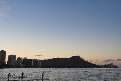 Diamond Head in the Morning with Paddle Boarders