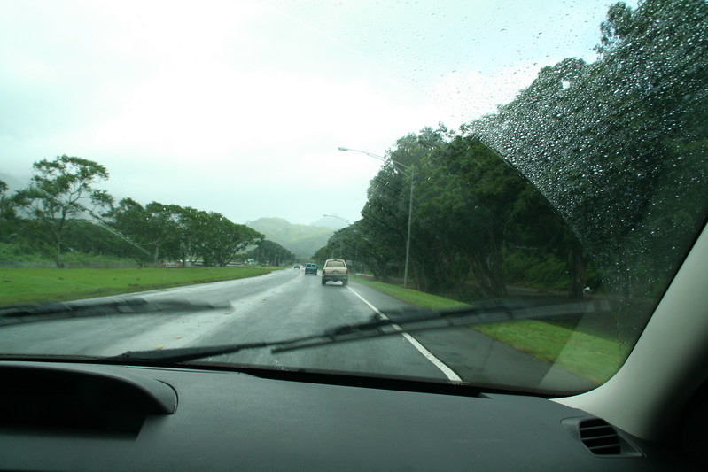 On the way to the Polynesian Cultural Center. The weather was crappy.