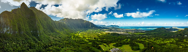 A Panoramic aerial image from the Pali Lookout on the island of Oahu in Hawaii