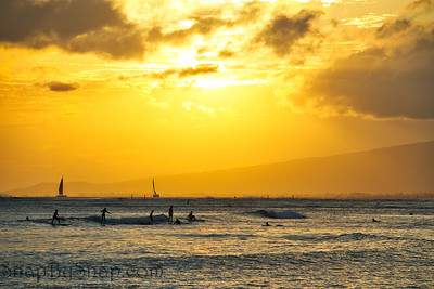 Group Surfing at Sunset