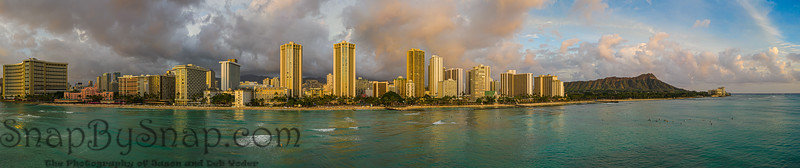 An aerial panorama view of Waikiki Beach and Diamond Head from the ocean