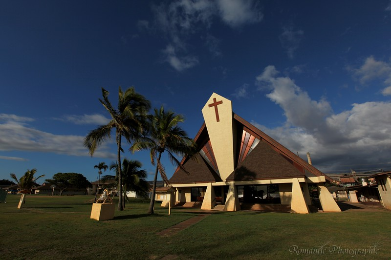 The architecture is distinctly Hawaiian.