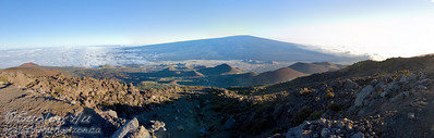 Panoramic view of Mauna Loa from a lookout point on Mauna Kea.