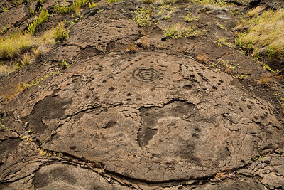 Petroglyphs in Volcano National Park, Hawaii.