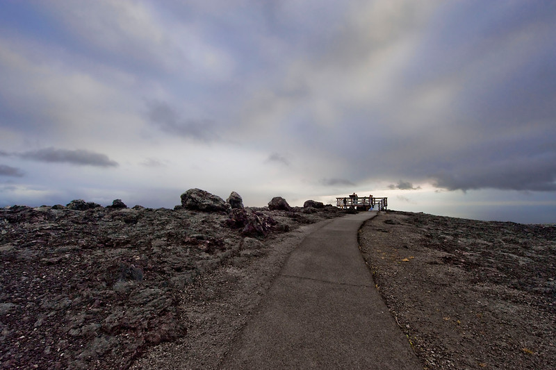 A lookout point for the ocean and lava flows