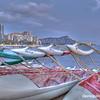 Outrigger canoes at Waikiki Beach