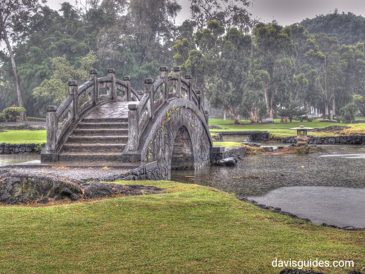 Gentle rain at Liliouakalni Gardens, Hilo