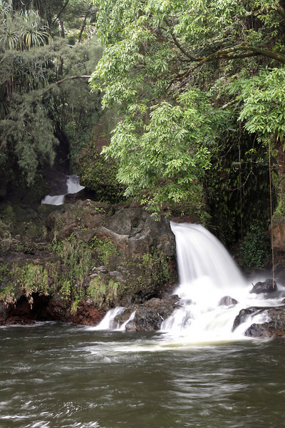 River cascading into the ocean, Big Island.