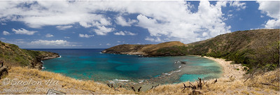 Panoramic view of Hanauma Bay, Oahu, Hawaii from the Marine Education Center.