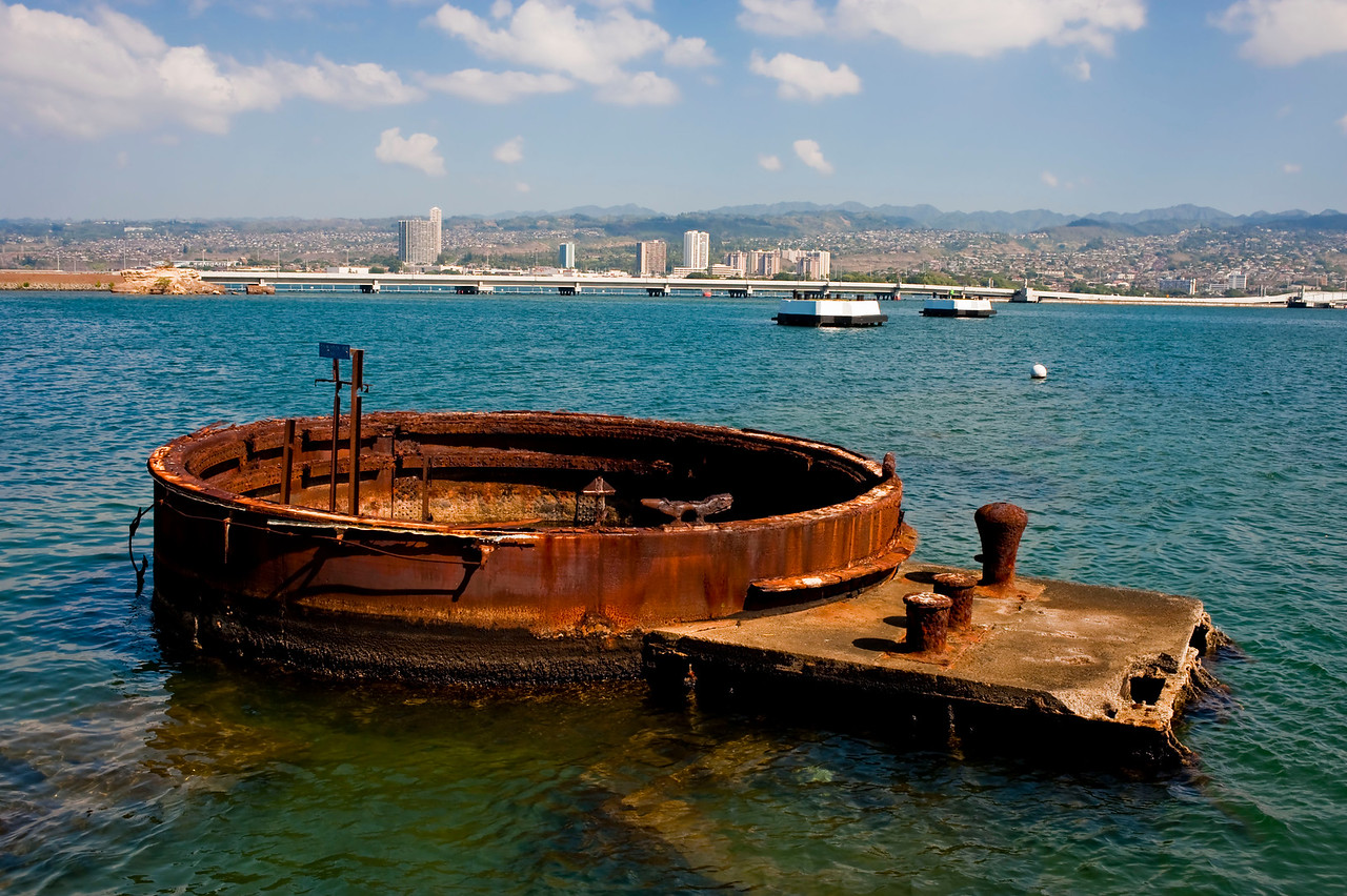 Gun turret on USS Arizona