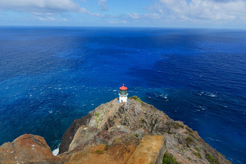 Makapuu Point lighthouse off Oahu, Hawaii