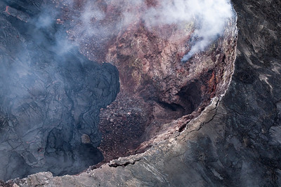 Aerial view of the Kilauea Volcano crater.