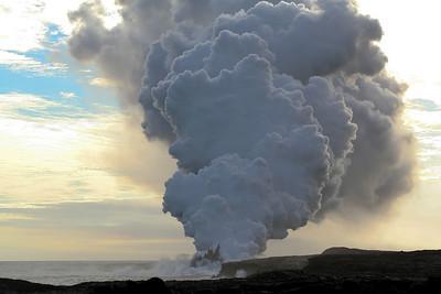 Where lava meets the ocean.