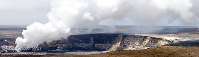 Panoramic view of the new vent in Halema`uma`u crater from the overlook at Jaggar Museum, Hawaii.