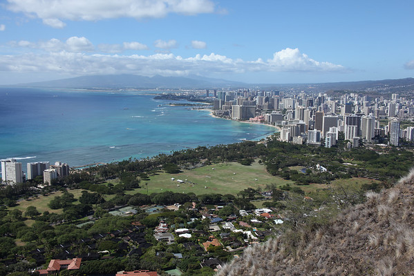 view of Waikiki Beach from the top of Diamond Head Crater in Honolulu