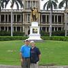 Ren and Helen at King Kamehaha statue, Honolulu