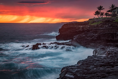 Brilliant sunset colors and waves, Poipu