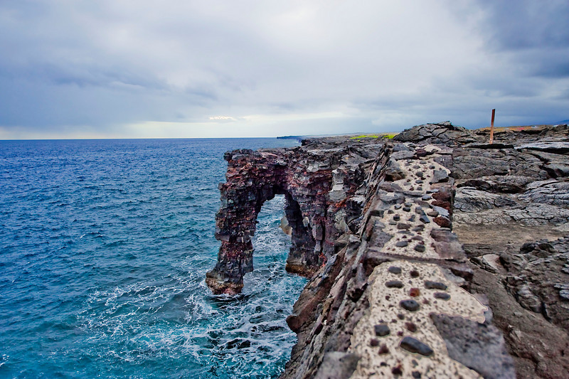 The Holei Sea Arch created from lava flowing into the ocean