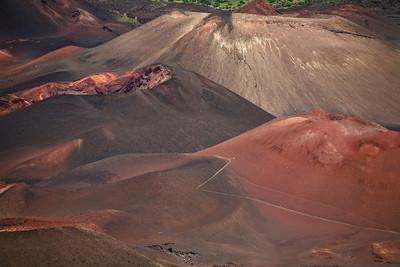 Volcanic cindercones in the erosion rift of Haleakala Volcano.