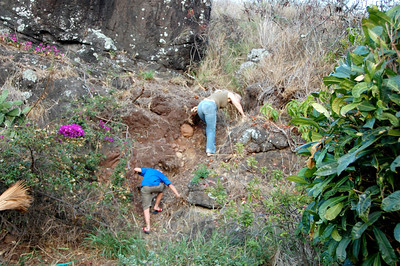 Pam is getting Ryan in the hiking mood - up the hill behind their house.