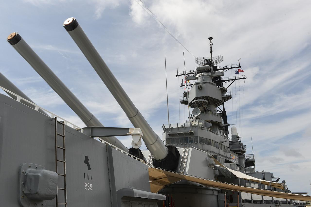 The Battleship USS Missouri at anchor in Pearl Harbor, Hawaii.