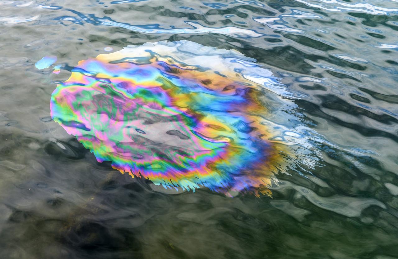 Oil Slick from USS Arizona Memorial Pearl Harbor Hawaii