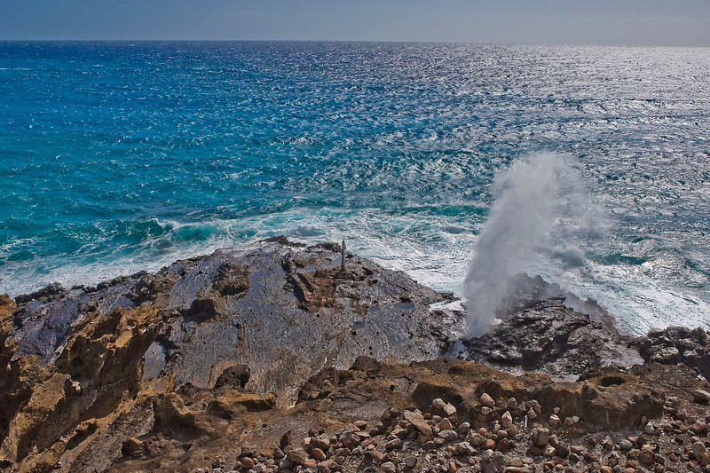 Thar she blows! Halona Blowhole on south shore of O'ahu.