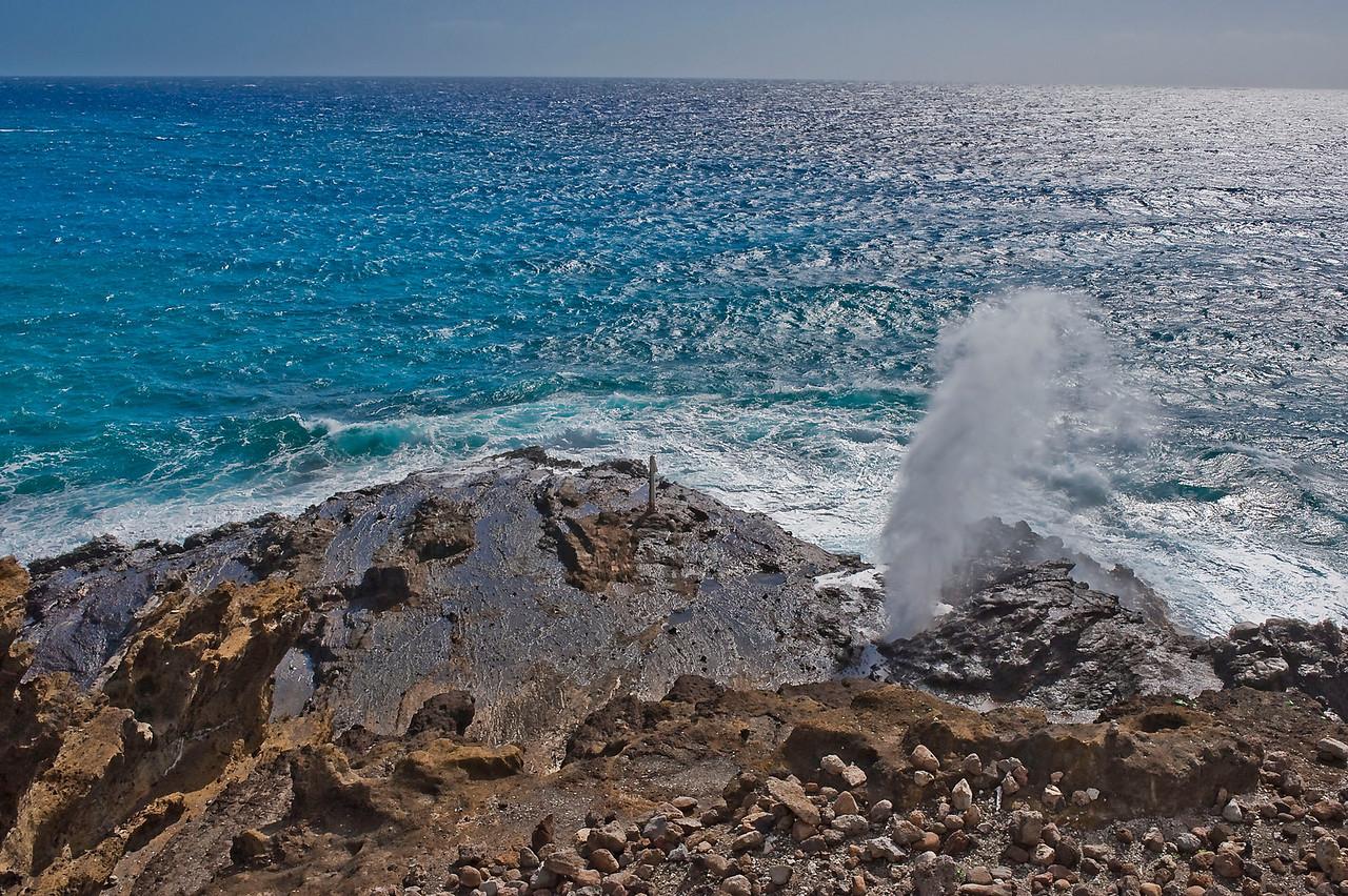 Thar she blows! Halona Blowhole on south shore of O'ahu.