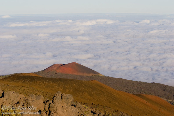 Red cinder cone of Mauna Kea above the cloud line.
