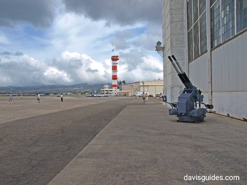 Hanger and control towers on Ford Island, Pacific Aviation Museum, Pearl Harbor