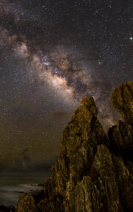 Milky Way and rock formations along the beach - Poipu,Kauai.