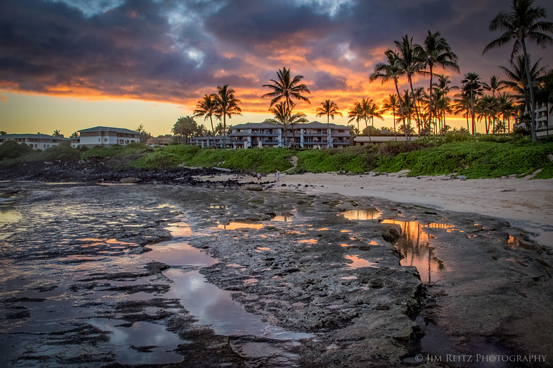 Sunset on Shipwreck Beach in Poipu, Kauai.