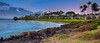 Sunset view of our condos, on Eula Beach in Wailea.