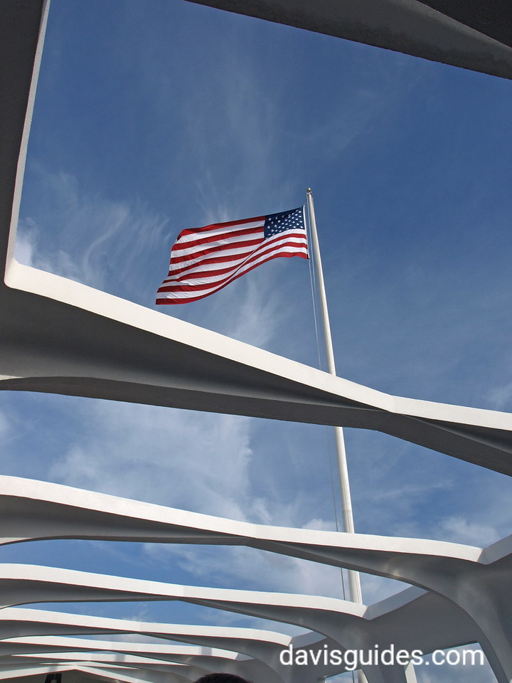 American flag flies above the Arizona Memorial