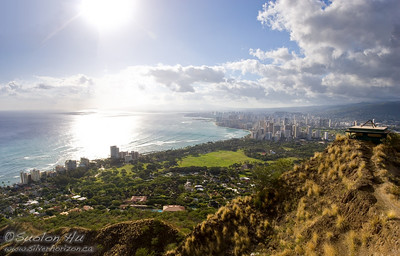 View of Waikiki on the top of Diamond Head, Oahu.