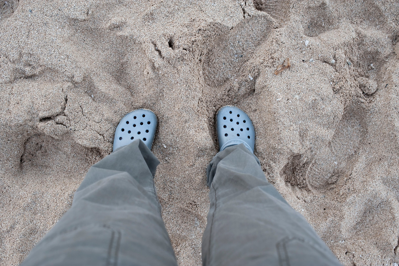 My crocs in the sand