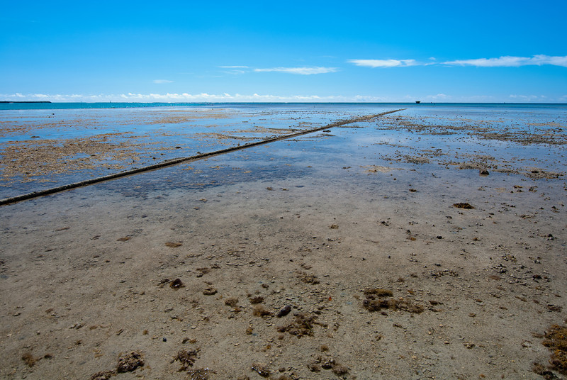 "<span id=""title"">Low Tide</span> <em>Hickam AFB, Oahu</em> We stopped at this spot to wade around in the water a bit. The pipe leads to a structure far off the coast - apparently it was a way for ships to fill up on fuel without having to come into Pearl Harbor."