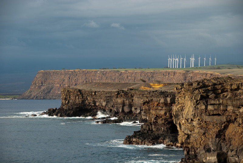 """<span id=""""title"""">Rugged Coast</span> <em>South Point, Hawaii</em> A tighter shot looking North from South Point. The windmills were well-placed - it was pretty breezy."""