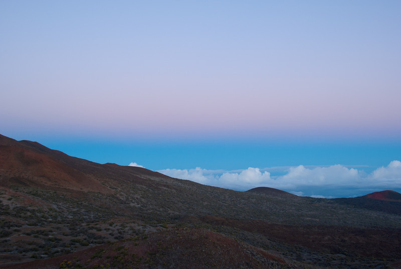 """<span id=""""title"""">Dusk Colors</span> <em>Mauna Kea, Hawaii</em> As we made the frigid walk back to the heated visitors center I grabbed this shot. Considering how cold I was, I'm pretty impressed I got an image this sharp at 1/4s."""
